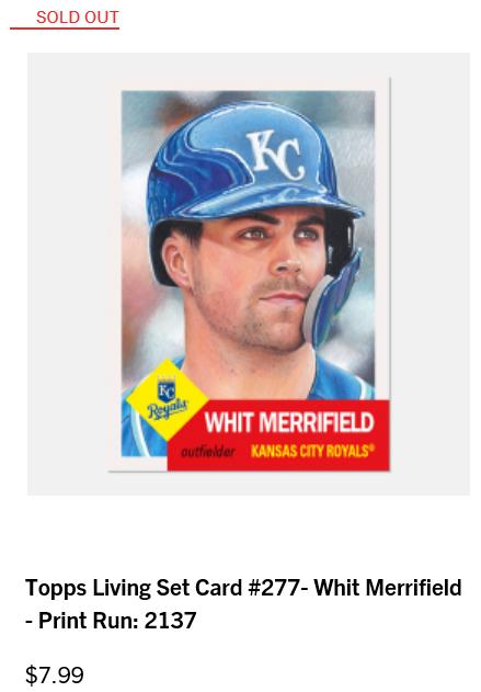 Print runs and rankings for Week 97 of the #ToppsLivingSet  #277 Whit Merrifield, Royals - 2,137 #278 Sonny Gray, Reds - 2,087