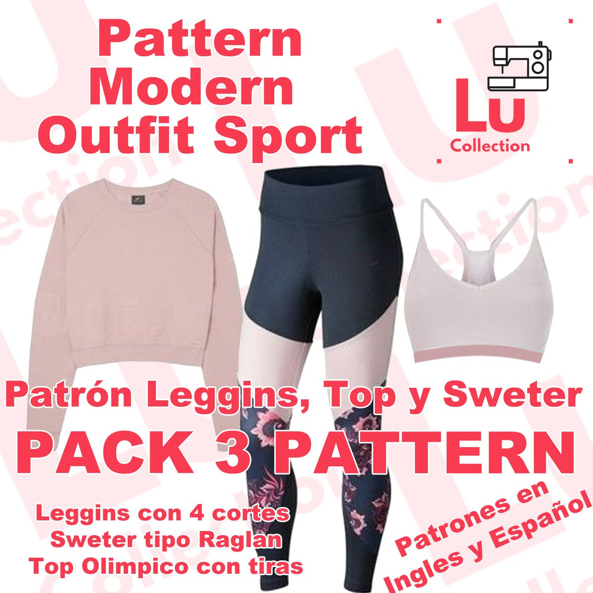 Visit our page in #etsy Pack 3 pattern leggins + bra + sweter #sewingpatterns #sewing #activewear #sportingchamps #outfitoftheday #diy #handmade #craft #gymgirl #yoga