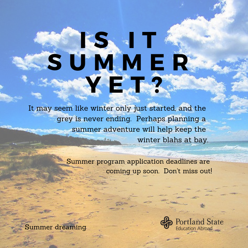 Let dreams of summer wash away the winter blahs.  Summer deadlines (and fall and academic year too), are coming up soon! Some deadlines are as soon as Feb 1, while most others are March 15.  #summer #deadlines #vikingsabroad