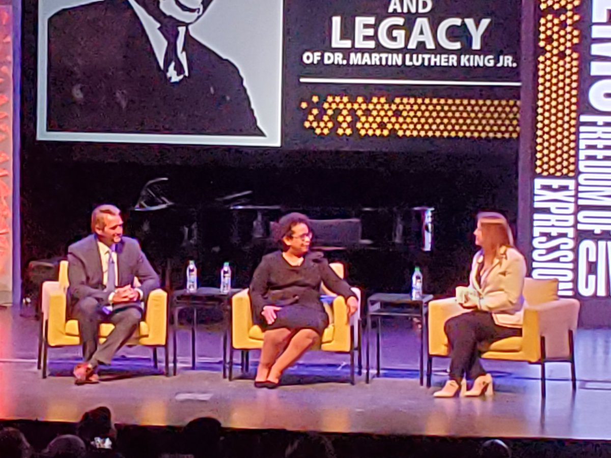 "Loretta Lynch, 83rd US Attorney General, and @JeffFlake take the stage to talk ""Democracy, Civility, and Freedom of Expression"" at @LifeAtPurdue."