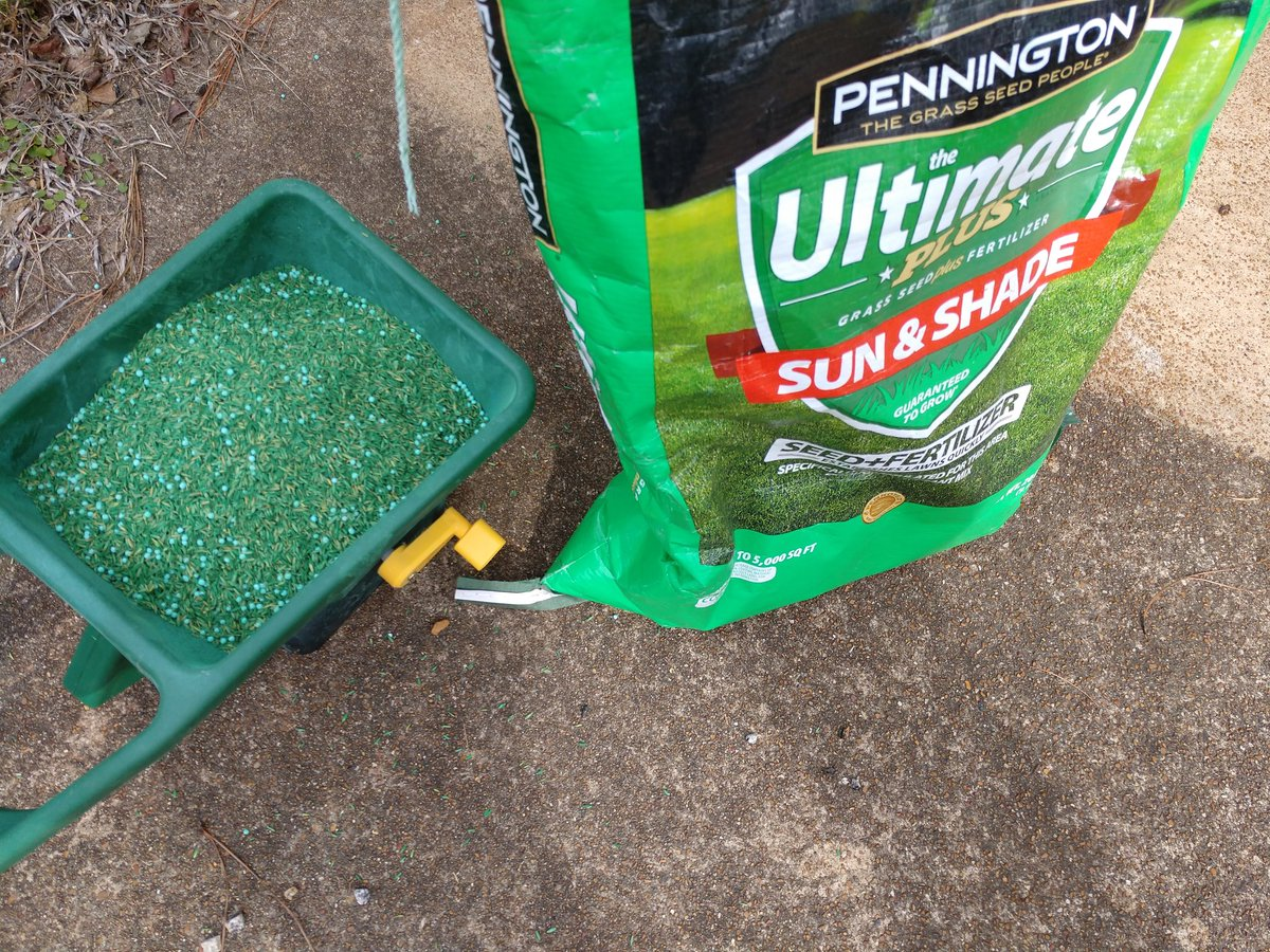 Yesterday was a good day for dormant seeding my lawn... rained today @penningtonlawn