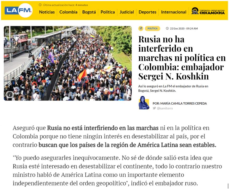Russia is interested in the Latin American countries to be stable and economically strong  🌎 https://tass.com/world/1111987  Rusia está interesada en los países de la región de América Latina sean estables, económicamente fuertes 🇨🇴 https://www.lafm.com.co/politica/rusia-no-ha-interferido-en-marchas-ni-politica-en-colombia-embajador-sergei-n-koshkin… 🇷🇺