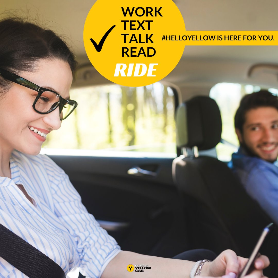 Youd be amazed at what you can accomplish with some quiet time in the back of a #HelloYellow taxi. We know your time is valuable, #Seattle; we got you. #SeattleWashington #Taxi #SeattleLife