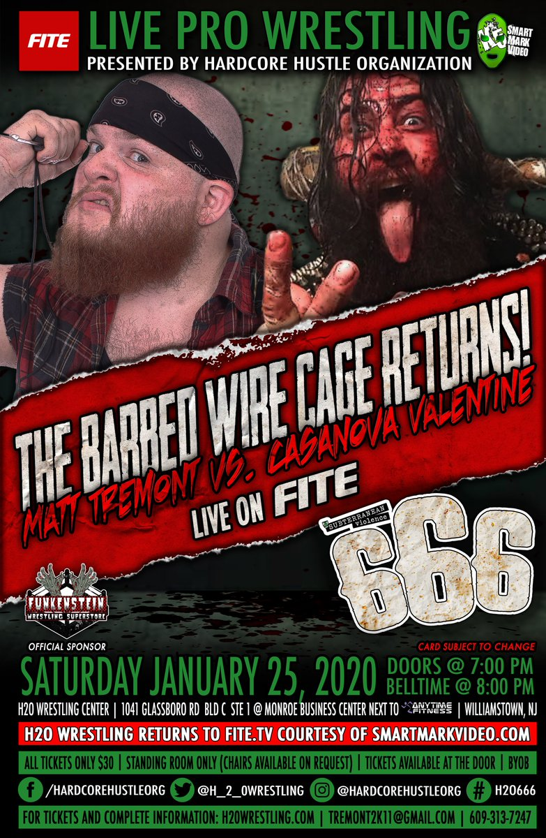 This Sat, Jan 25th  Subterranean Violence Vol: 666  #H2Violence LIVE on @FiteTV   Order:   at @H2OWrestlingCtr in Williamstown,NJ   All Tickets $30 at the door   7pm Doors   8pm Bell   BYOB  RSVP:   #AEWonTNT #NXT