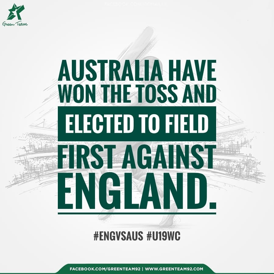 Australia have won the toss and elected to field first against England  #ENGvsAUS #U19WC<br>http://pic.twitter.com/3BHcWWncIH