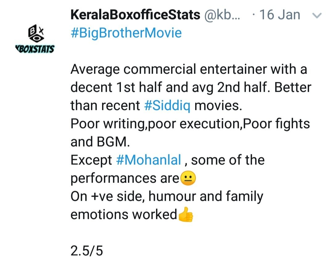 What kind of hatred is this??  Big Brother- 2.5/5  Shylock - 2/5  We have watched both the films fdfs and we could say with all authenticity that #Shylock is a dozen times better a movie than #BigBrother !!  Stop hate campaign !! <br>http://pic.twitter.com/TO9HKWUzhi