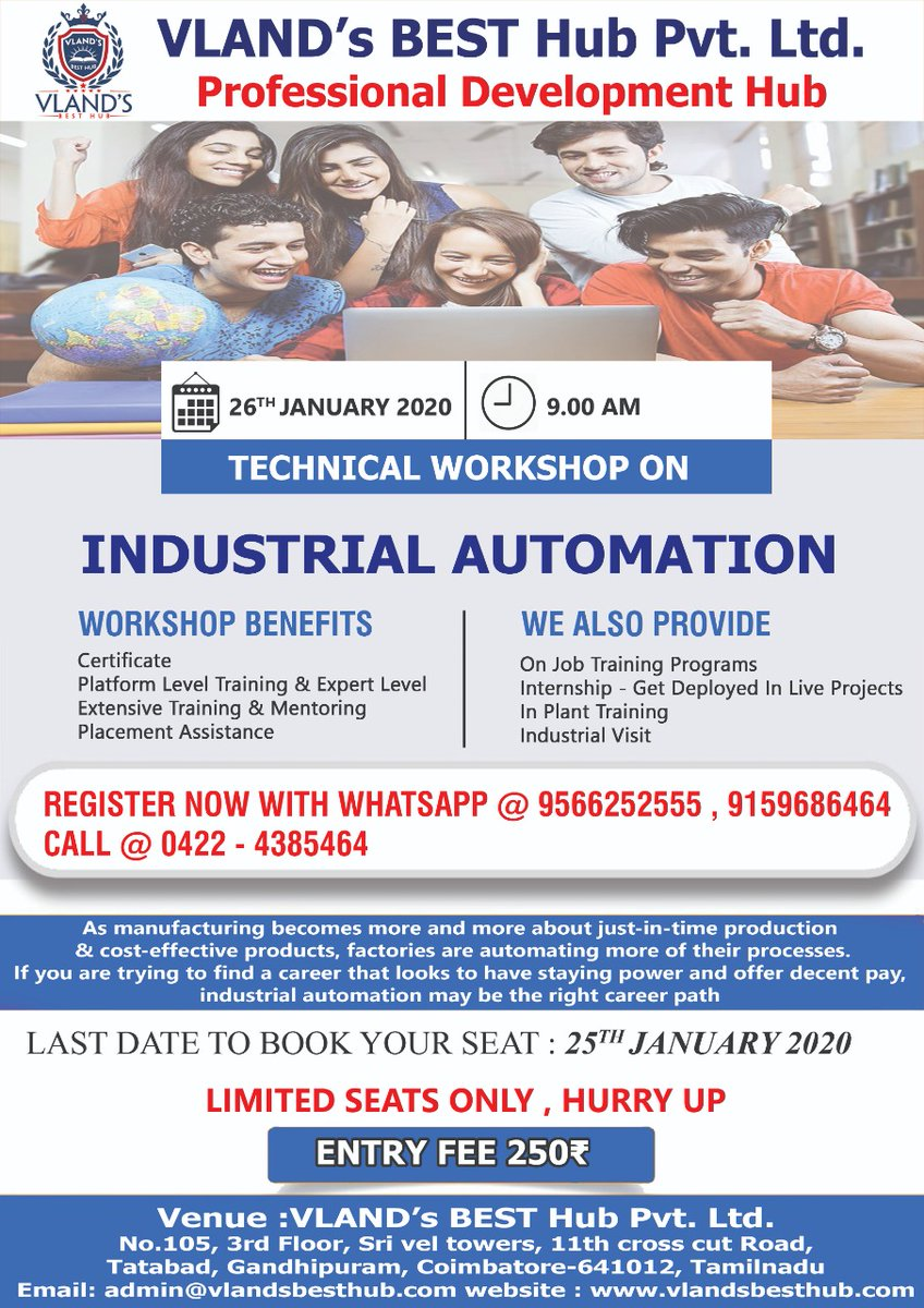 The manufacturing industry is moving towards embracing automation, are you ready for this change in the job market? Join us for Technical Workshop on Industrial Automation on Jan 26th. Only three days left to register. Limited seats, so grab one NOW!!!  #Engineering #Workshop<br>http://pic.twitter.com/ZB0JCf1ZHk