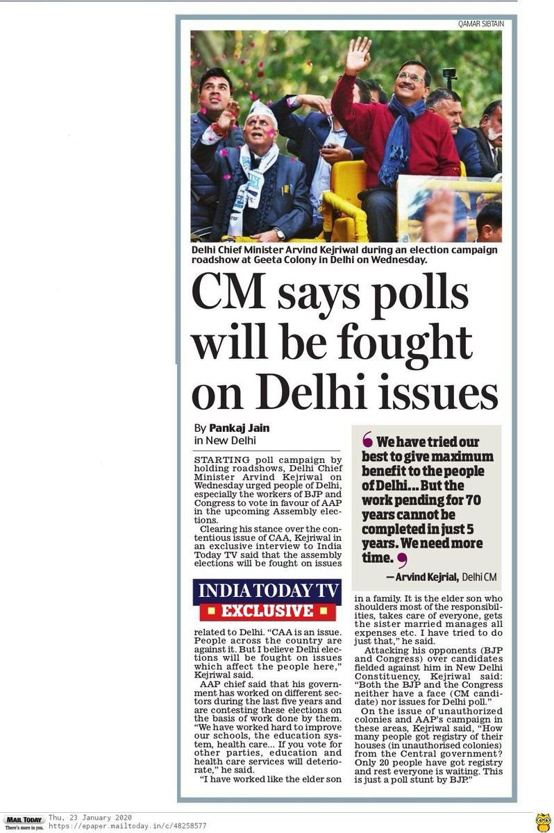 #DelhiElections2020 'Polls will be fought on Delhi issues' - @ArvindKejriwal
