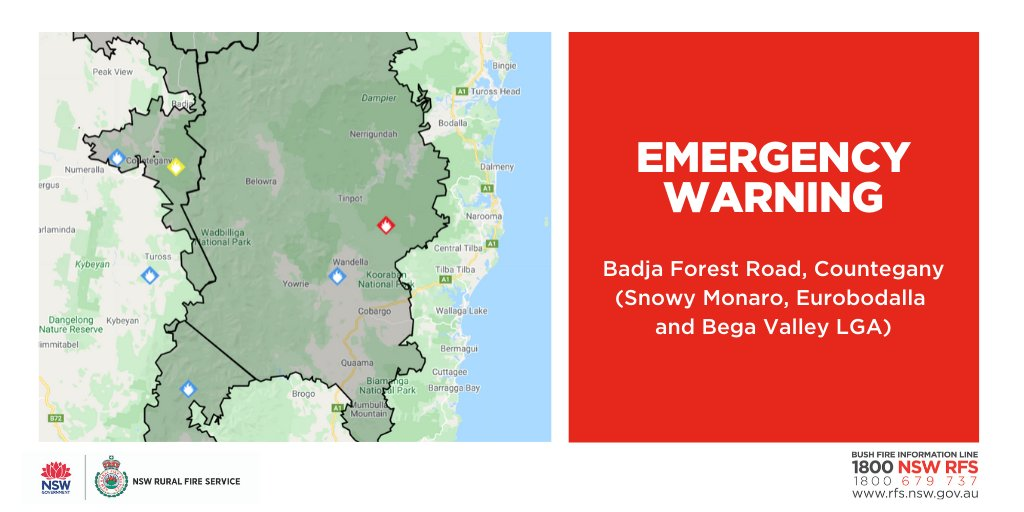 EMERGENCY WARNING - Badja Forest Rd, Countegany (Snowy Monaro, Eurobodalla & Bega Valley LGAs) There is an immediate threat to properties. If you are in Bumbo, Eurobodalla & Bodalla, it is too late to leave. Seek shelter as fire approaches. For more: ow.ly/Ue9E50y2Fix