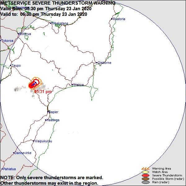 Severe Thunderstorm Warning issued for Gisborne / Hawke's Bay Radar Area zpr.io/tAKqc https://t.co/Gcio57F9fT