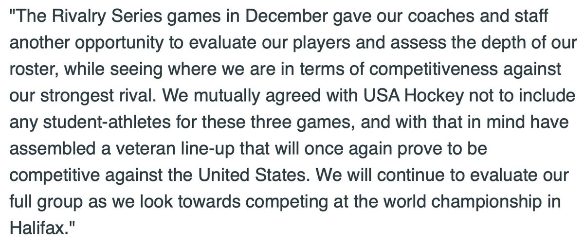 Statement from Gina Kingsbury, director of National Women's Teams for @HockeyCanada: #HockeyCanada #RivalrySeries #PWHPA #WNHL #WHKY #ForTheGame #ForUsAll<br>http://pic.twitter.com/NTF8TjmCuf
