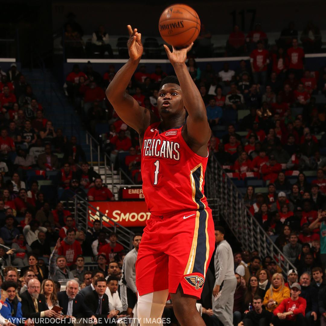 Zion Williamson: 1 career game, 4 three-pointers Ben Simmons: 203 career games, 2 three-pointers<br>http://pic.twitter.com/vlPiX6TCHs