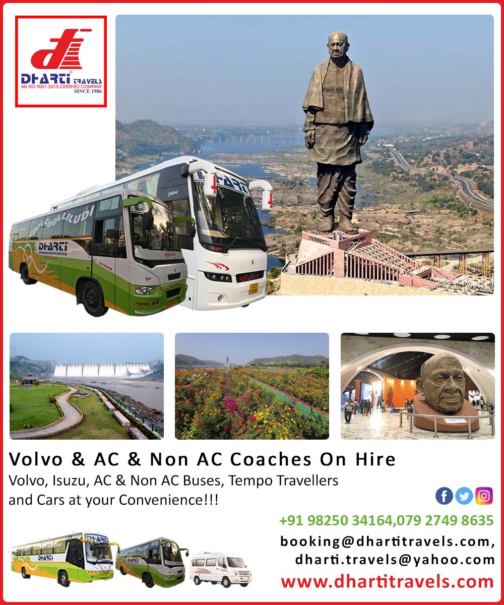 #DhartiTravels #luxuryBus #BusRentalService #HireBus #HireVolvoBus #VehicleHire #Hire #Pickup #volvo #minibus #isuzu #acbus #nonacbus #ahmedabad #gujarat #india  Phone: 079 2749 8635 Mobile No.: + 91 98250 34164 Email:dharti.travels@yahoo.com Web: