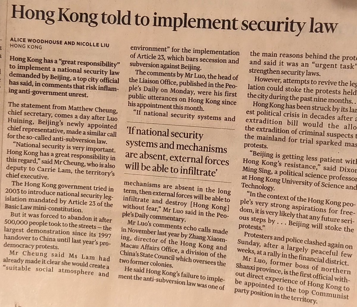 #HongKong has been told by #CCP to implement a new #SecurityLaw to make even easier violent  repression of protests by the local Police.The #IndependentInvestigation  on #PoliceViolence is urgently needed.@GlobalCRL @joshuawongcf @demosisto<br>http://pic.twitter.com/TR5j4EpKtz