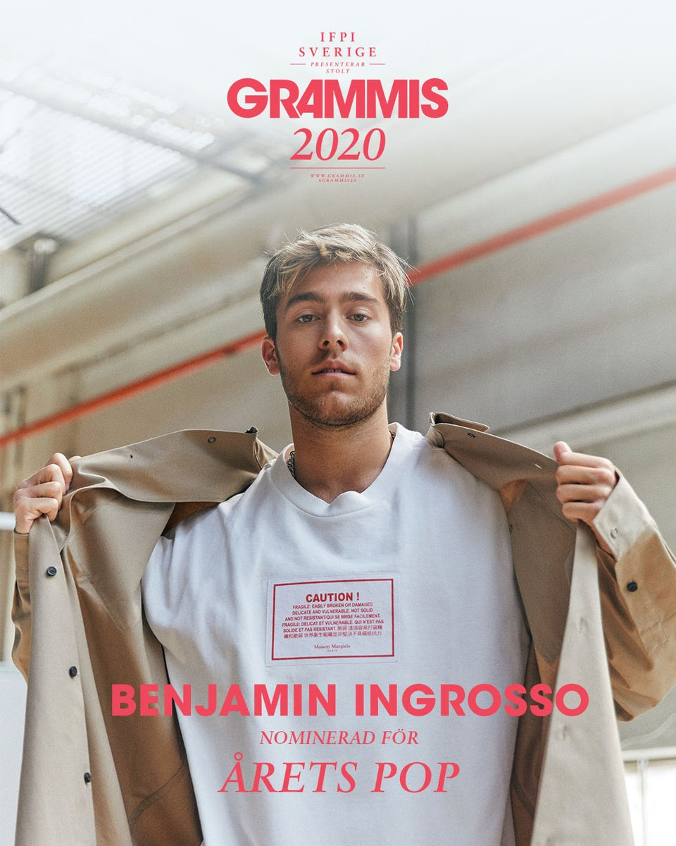 .@BenjyIngrosso will be performing at @GrammisSverige next Thursday that will be live on TV12 and TV4 Play from 19:30 🎵 He is also nominated as Årets Pop 🙌 #grammis #grammis20