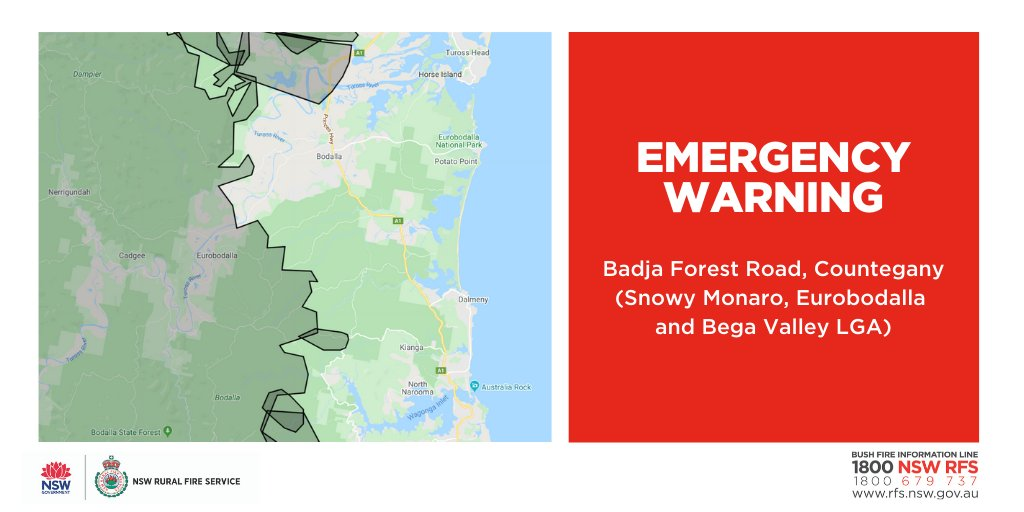 EMERGENCY WARNING - Badja Forest Road, Countegany (Snowy Monaro, Eurobodalla & Bega Valley LGAs) The fire is spreading. If you are in the area of Potato Point it is too late to leave. Seek shelter as fire approaches. For more advice: ow.ly/THfS50y2IMm #nswrfs #nswfires
