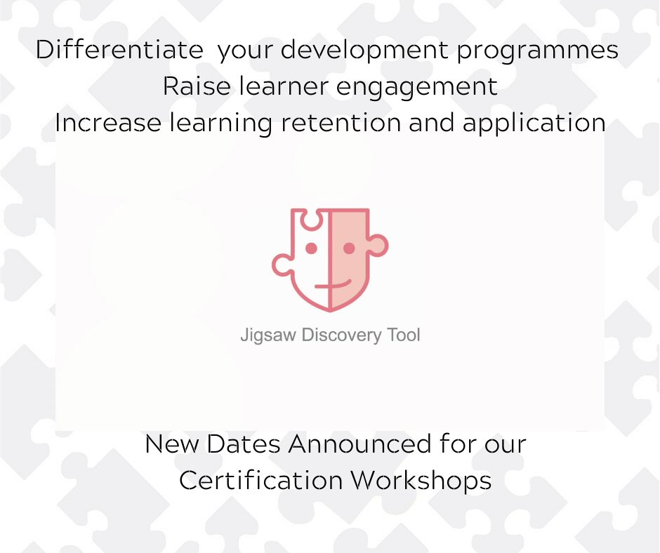 The next #JigsawDiscoveryTool Certification workshop is on the 26th & 27th March. Leave a comment to receive full details #Behaviours #Profiling