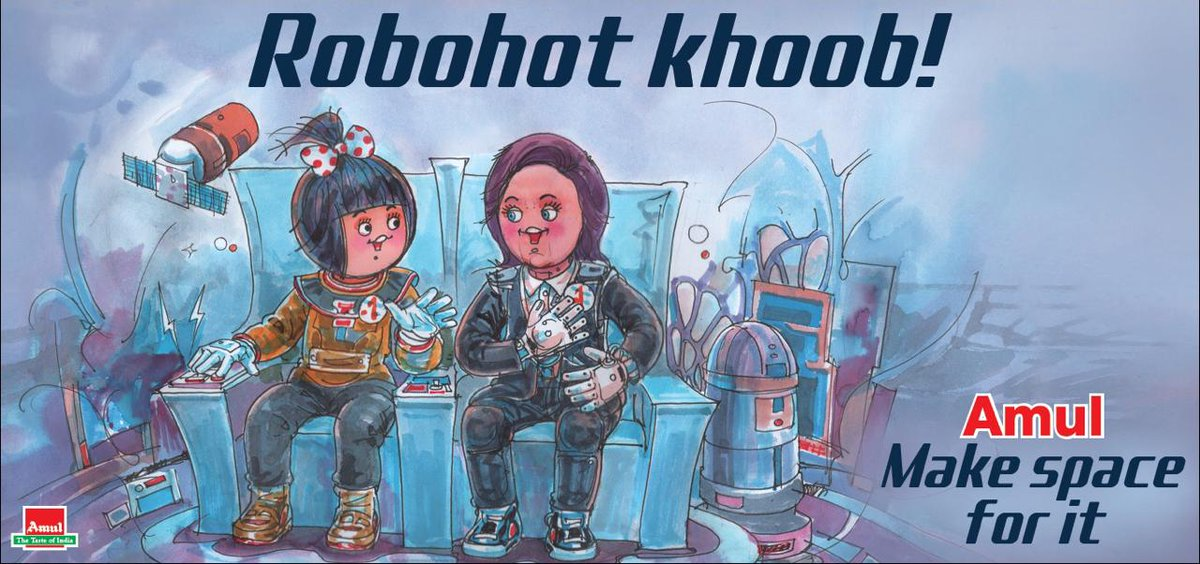 #Amul Topical: ISRO introduces female humanoid 'Vyommitra' for Ganganyaam mission! <br>http://pic.twitter.com/TTmNZR6aXH