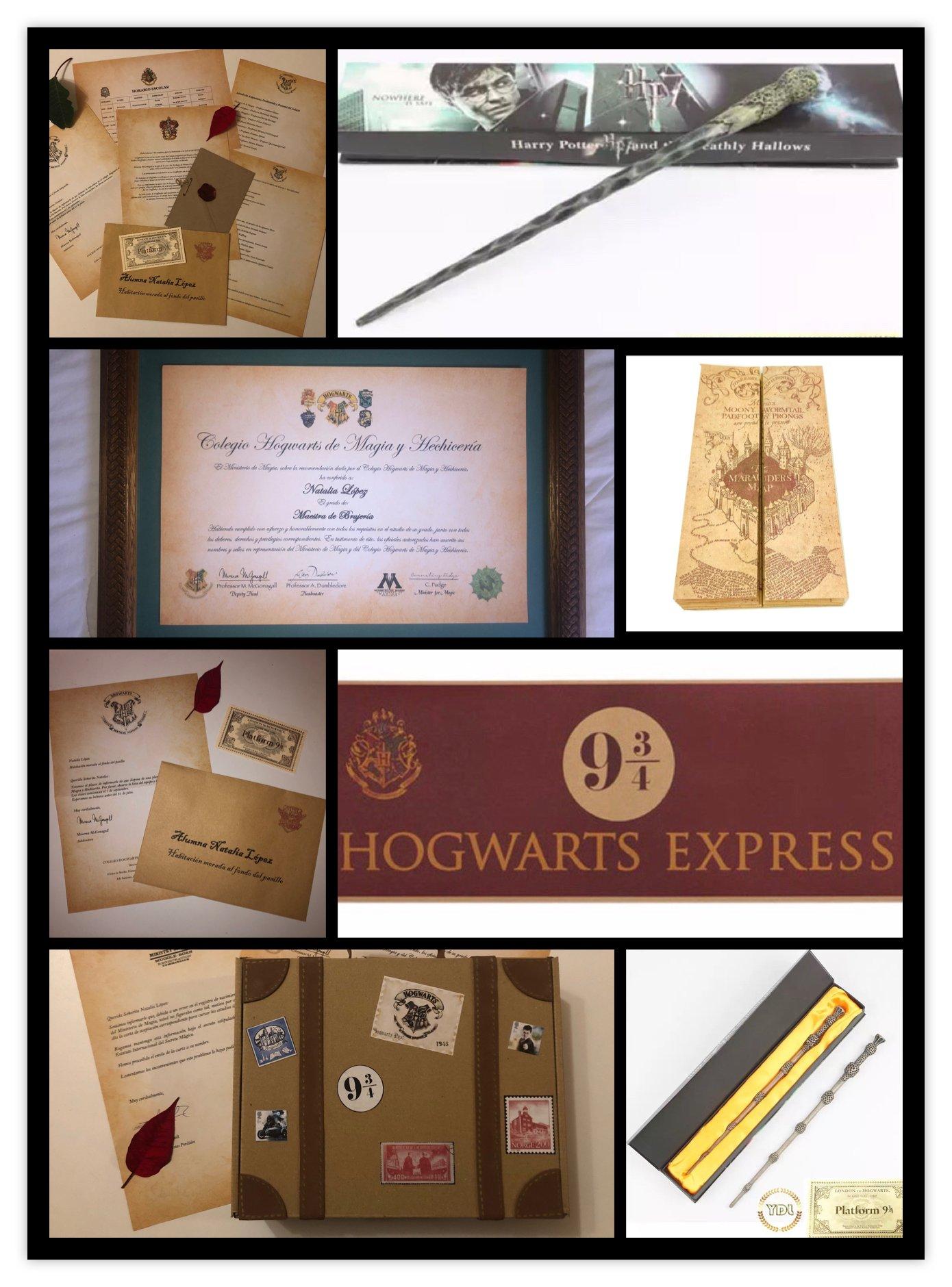 Pack Carta aceptaci/ón Hogwarts en Castellano Personalizada Mapa merodeador Harry Potter y Colgante