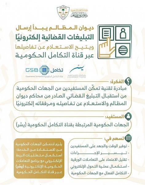 """""""#ديوان_المظالم"""" يُفعل إرسال التبليغات القضائية إلكترونيًا للجهات الحكومية عبر #يسر."""