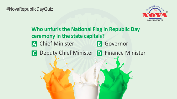 Question 3  Celebrate this #RepublicDay by taking part in the #republicdaycontest & stand a chance to win a gift hamper from #NovaDairy. Answer all the questions correctly using #NovaRepublicDayQuiz. Participate, share & tag your friends.  #Contest #ContestAlert #RepublicDay2020