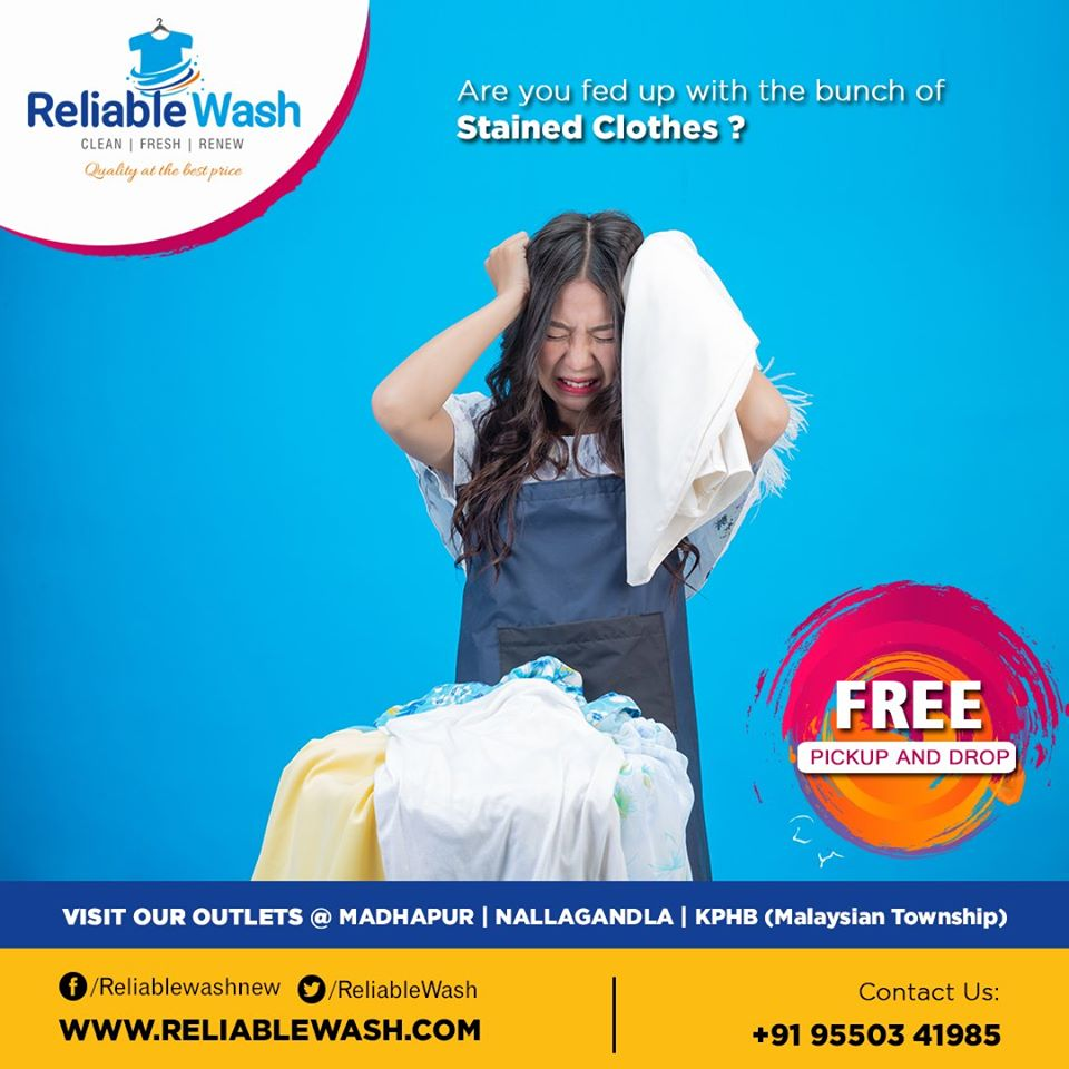 Reduce #weekend laundry drama & roll on #freshness with Reliable Laundry Services!   Contact :+91- 9550341985  Branches: #Madhapur 8886686180 #KPHB 8886686178 #Nallagandla 8886686175  #reliablewash #newer #drycleaning #steampress #Hyderabad #Restore #pickup