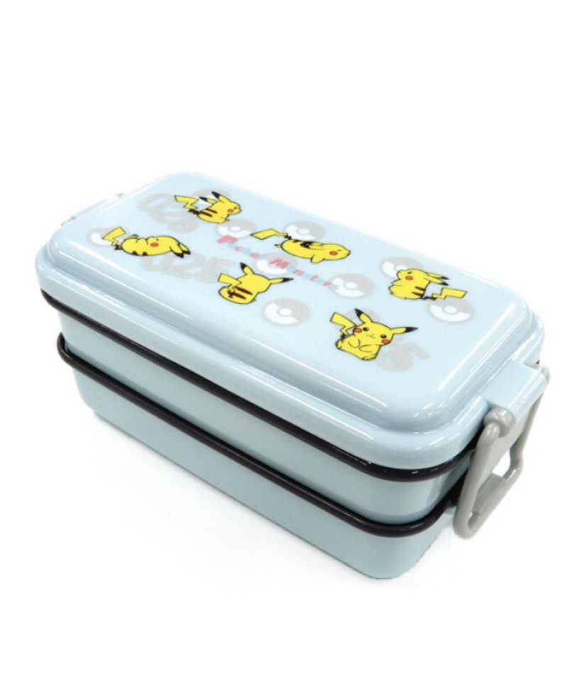 スケーターピカチュウ ナンバー025の弁当箱フタが盛り上がっていて、お料理などをふわっと盛り付けられるホーロー風のかわいいデザインの2段式お弁当箱ココット風のデザインが可愛いドーム型フタ弁当箱