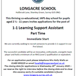 We are looking for a part-time Learning Support Assistant to join our Early Years team to provide 1-1 support in our Pre-School. For an application pack please contact Mrs Holly Wells on 01483 893225 or email hwells@longacreschool.co.uk #earlyyears #EYFS #learningsupport