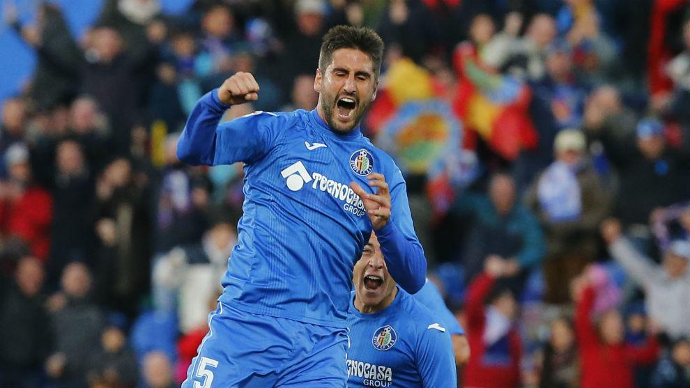 Markel Bergara celebra un gol con el Getafe.
