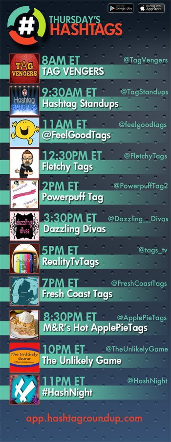 Hashtag Roundup - Thursday ❤️hashtag games? Tweet with us! Follow us & Download our FREE @HashtagRoundup app (IOS/Android) for daily schedule & notifications right to your phone! 👉app.hashtagroundup.com👈 11PM ET @HashNight