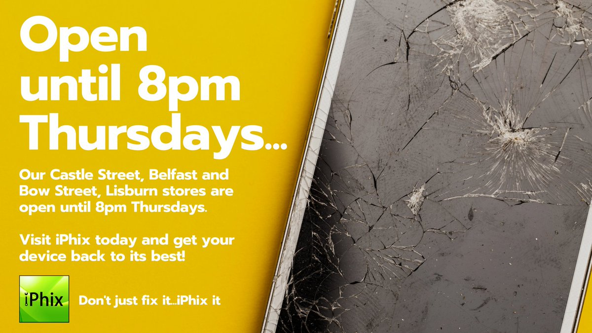 .@iPhix_NI OPEN until 8pm THURSDAYS! 30 Minute Express Repair!  No appointment necessary!  All Makes and Models repaired!  Lifetime Warranty on screen repair!  Click for Repair Prices - http://bit.ly/iPhixRepairPrices…  #BelfastHour #workplus #SupportLocal #DeviceRepair pic.twitter.com/aU2EkFDb57