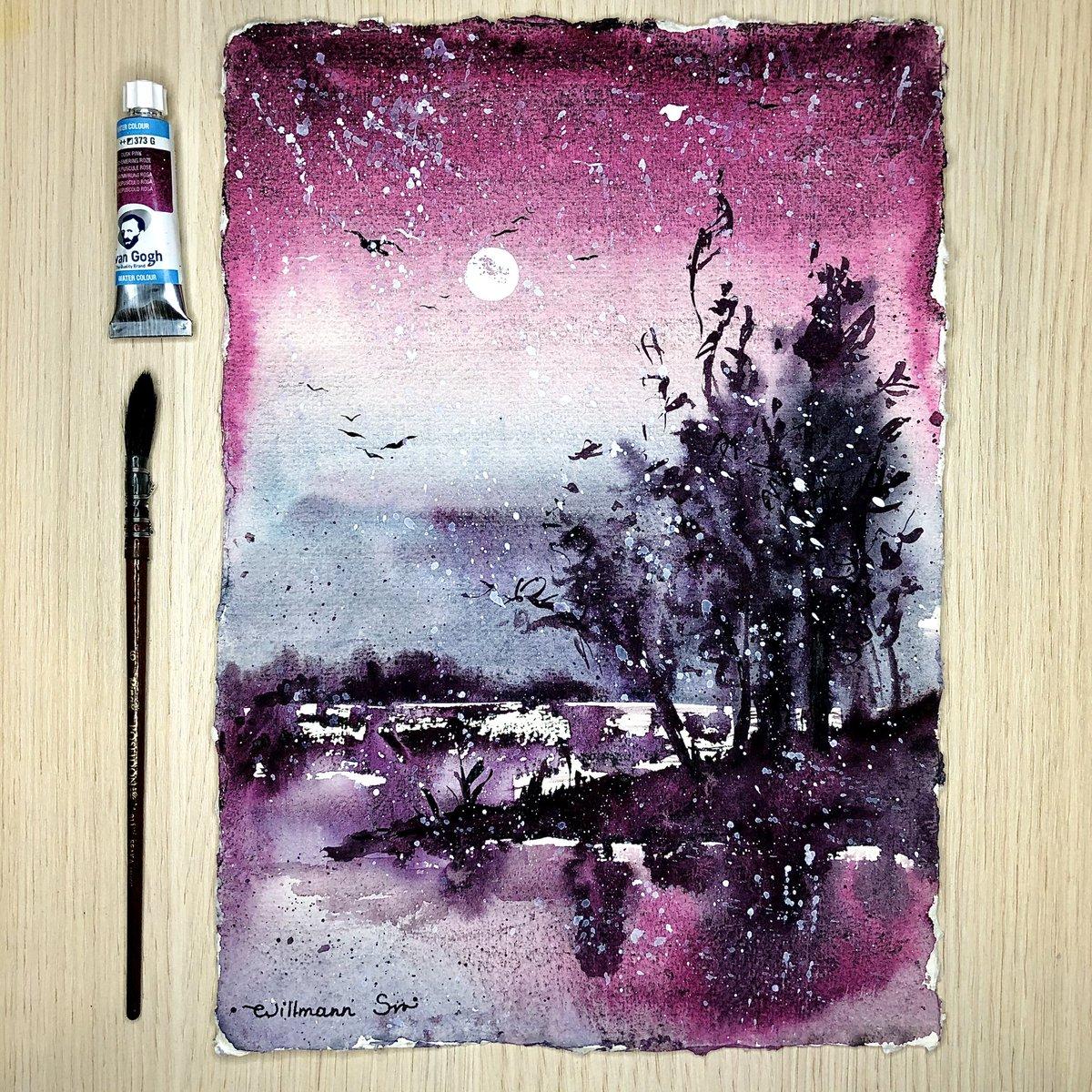 "Uživatel Wittmann Svetlana na Twitteru: ""🔮 Magical granulation watercolor  by Van Gogh🔮 (Dusk pink) and I love that handmade Khadi paper 💗 🧙♀️  Snowing 🌨 . #Watercolor #Watercolourpainting #Watercolour #art #painting  #artwork…"