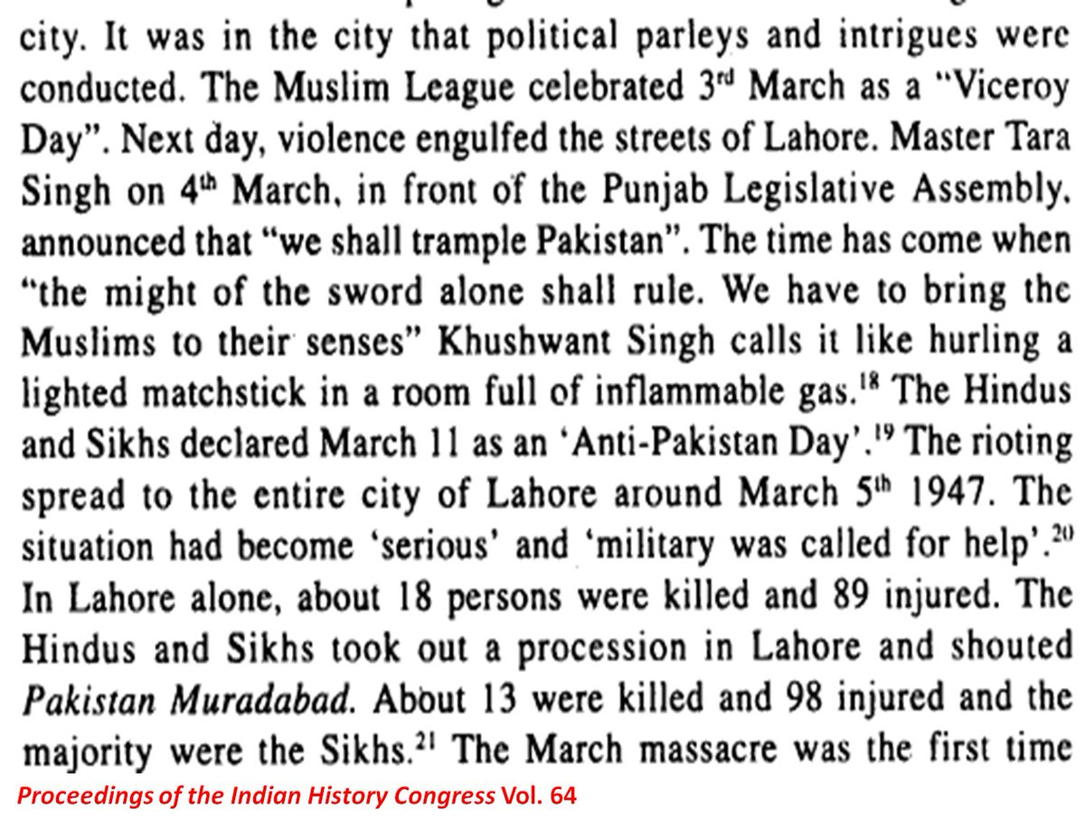 @Blackco89278095 @somnath1978 @rvaidya2000 Thanks. I got these info form the paper PANGS OF PARTITION: LAHORE IN 1947 by Sukhdev Singh Sohal. Also same thing mentioned in the book Wounded Tiger: A History of Cricket in Pakistan by Peter Oborne. Can you share any info on Muslims doing protest against partition in India