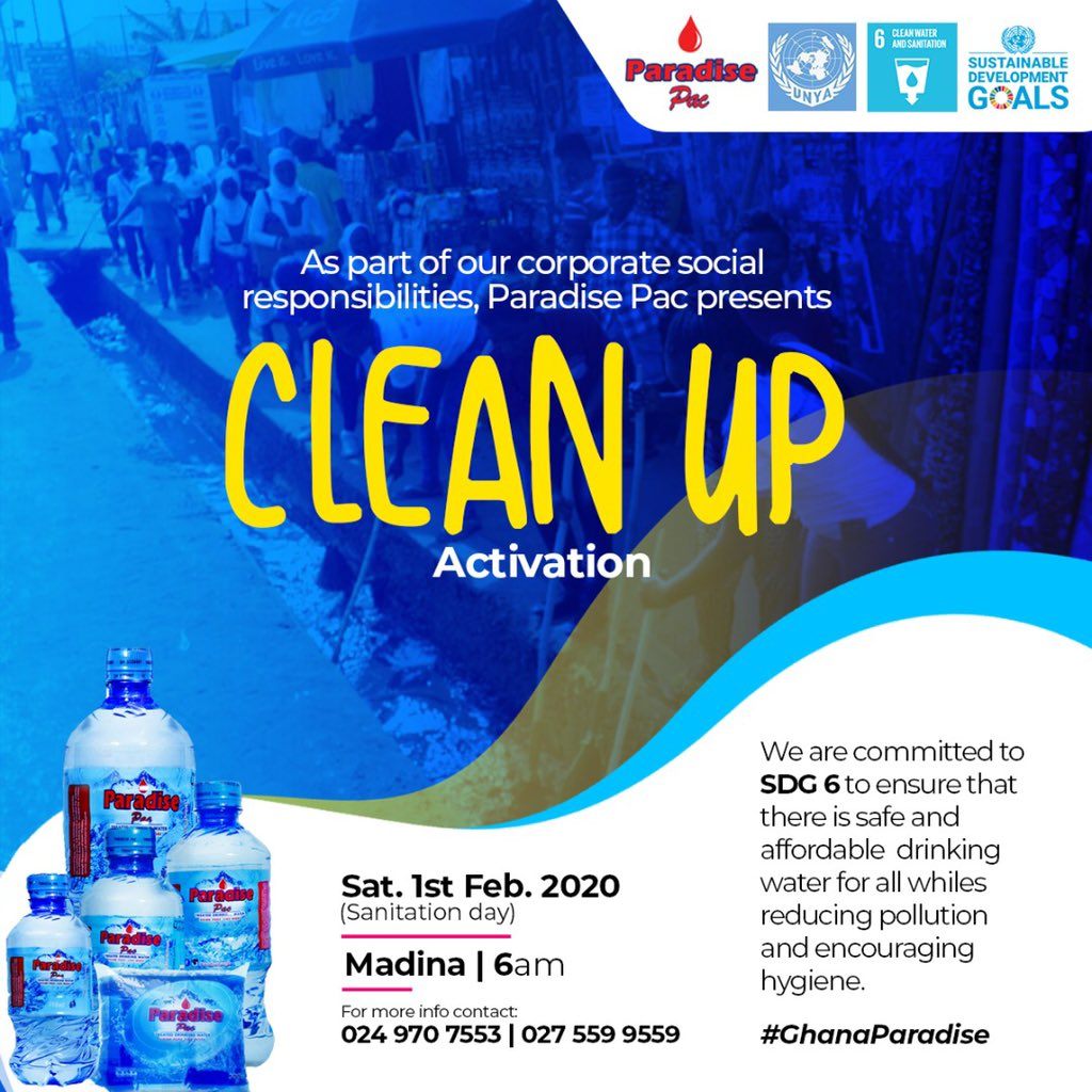 Inviting all loving Ghanaians to our maiden cleanup campaign. Me and my team will be there. Let's make it a better one 💪🙏 @ParadisePac1 @AnimSammy @PrinxRandy