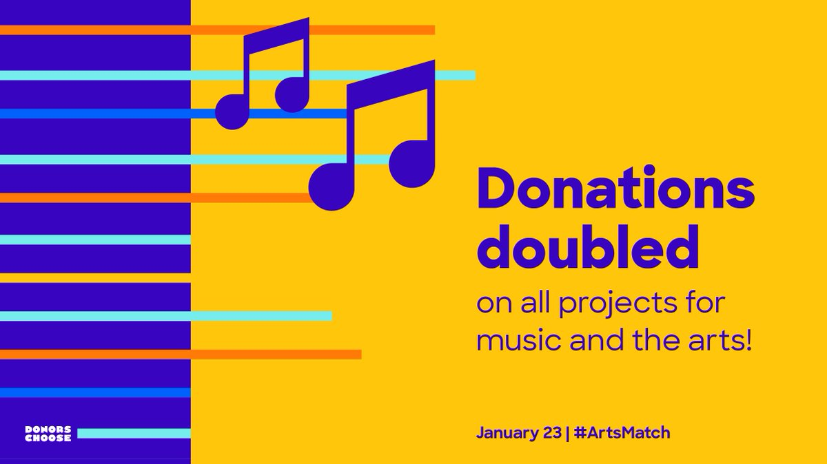 The #ArtsMatch  has begun! Today only, your donations on projects for music & the arts will be doubled.   https://bit.ly/2tyPxVj