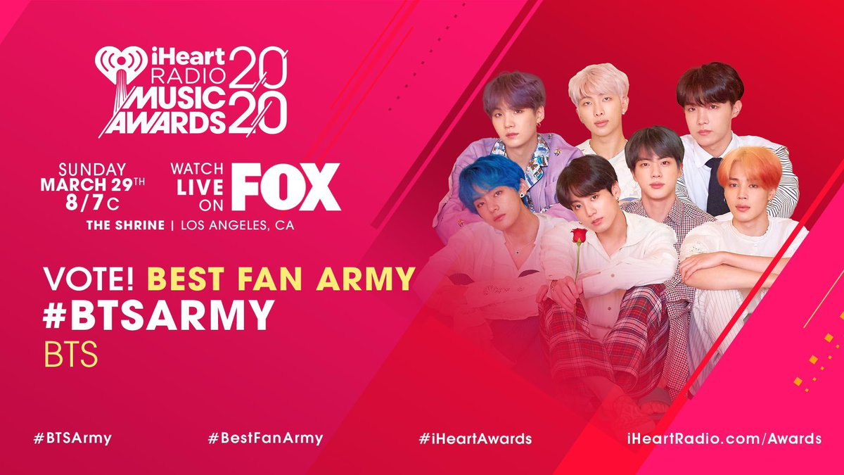 RT @BTSPublicity: @BigHitEnt RT TO VOTE   #iHeartAwards #BTSARMY #BestFanArmy @BTS_twt https://t.co/rnET6kULeC