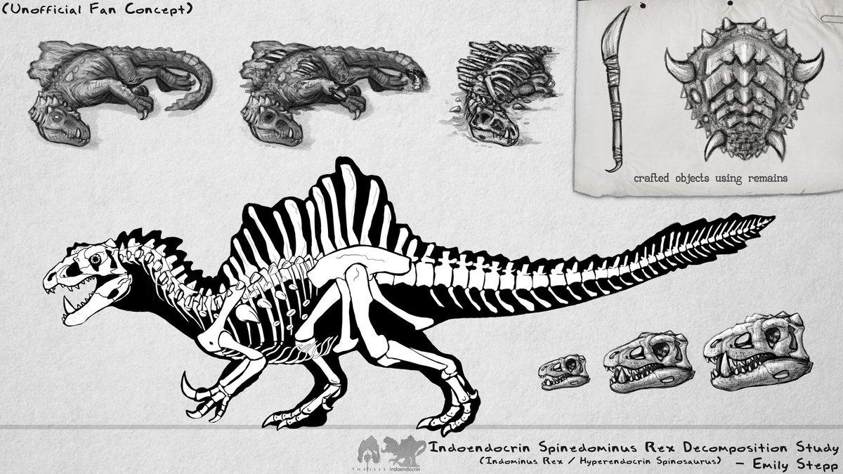 Skeletal concept for @thDoctorTHE11th's modded creature for The Isle. #FanArt #GameArt #TheIsle #JurassicWorld #Art #CrossoverArt #DinosaurHybrid #GameMod #HyperendocrinSpinosaurus #IndominusRex #SkeletalDiagram