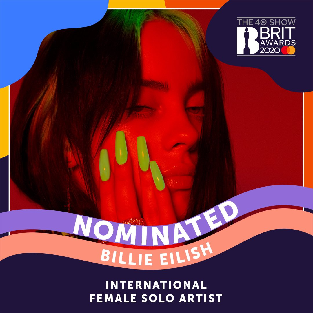 Billie is nominated for #BRITs 2020 International Female Solo Artist. @BRITs