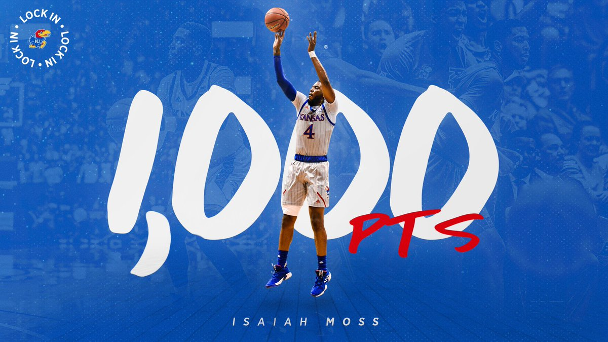 1,000 career points!Welcome to the club, @imoss38 ✊#KUbball | 𝗟𝗼𝗰𝗸 𝗜𝗻