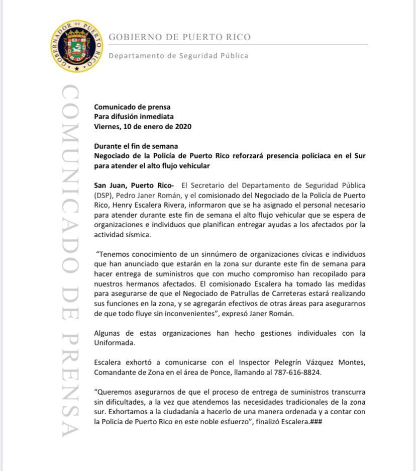 Infiormación importante para las organizaciones e individuos @wandavazquezg @DSPnoticias @NMEADpr @fortalezapr
