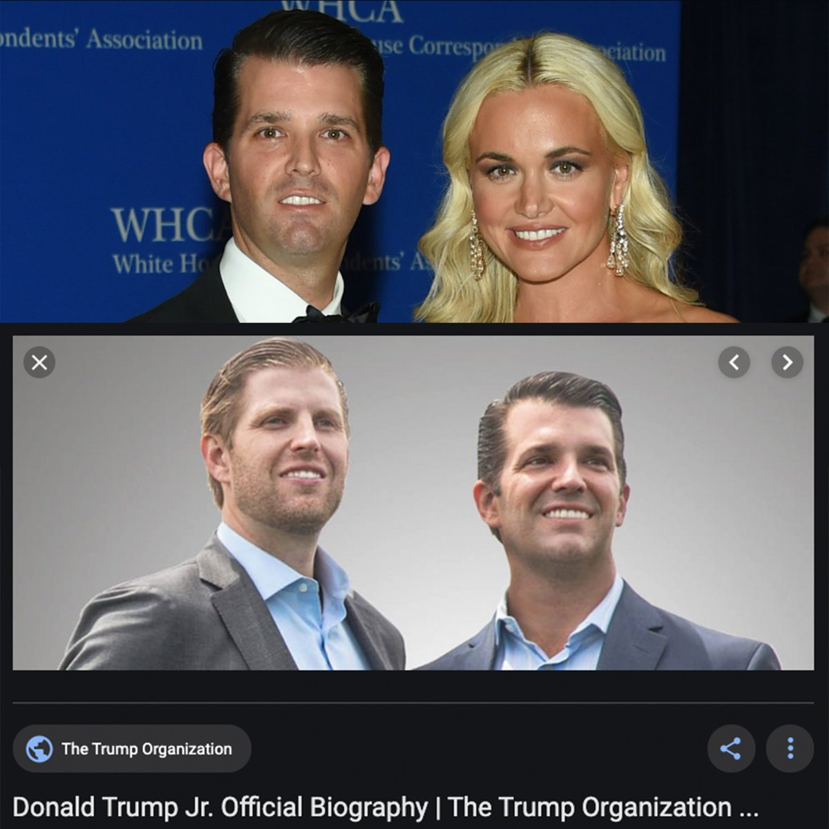 @ActualEPAFacts If @realDonaldTrump REALLY wants to go down tis road, it seems like a good opportunity to discuss how @DonaldJTrumpJr has his neck photoshopped in official photos to make it look man-sized. look at this horrible warp tool job from the Trump Org vs a candid #photoshopfails