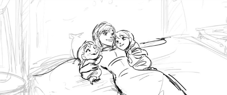 From storyboard to final frame: Queen Iduna sings a lullaby to young Anna and Elsa. #Frozen2  : Sylvia Lee, Story Artist <br>http://pic.twitter.com/xJv0irVs2P