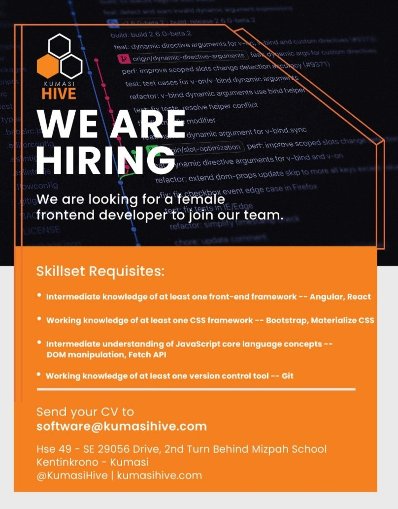We're hiring. Tell a friend to tell a friend.  #HiveTraining #HiveImpact #HiveTribe #Hiring #Recruitment #WebDevelopment #Frontend #react #bootstrap #git<br>http://pic.twitter.com/5GQVyU887E