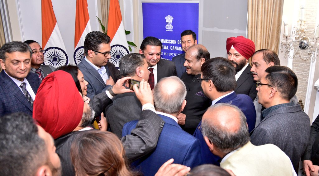 On the occasion of #pravasibharatiyadivas Hon'ble Speaker @LokSabhaSectt Shi Om Birla @ombirlakota interacted with members of the the dynamic Indian Community at an event held in India House in #Ottawa. We are very proud of the success of the Indian Community in Canada.