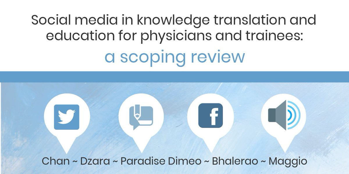 Congrats to alums @TChanMD @KristinaDzara @LaurenMaggio & co-authors @saraparamd @anujabh for their new @pmeded article! Read #SoMe in #KnowledgeTranslation & education for physicians & trainees: a scoping review: bit.ly/MedEdSoMeScopi… #MedEd #WomenInMedicine #MedTwitter
