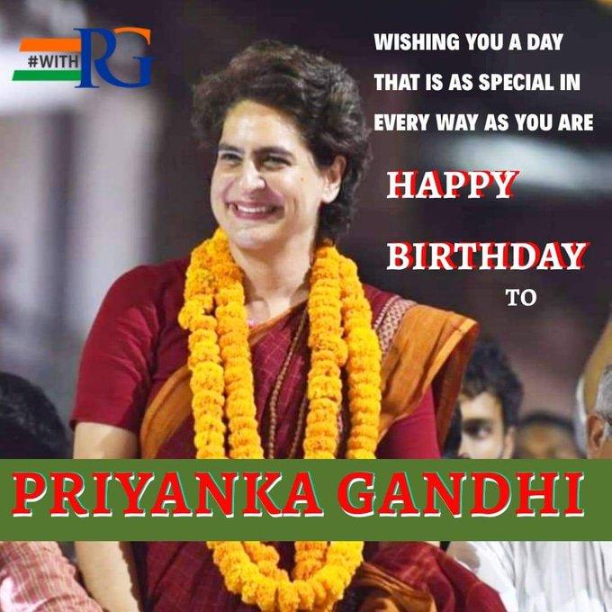 Team WithRG wishes a very happy birthday to Smt. Priyanka Gandhi ji
