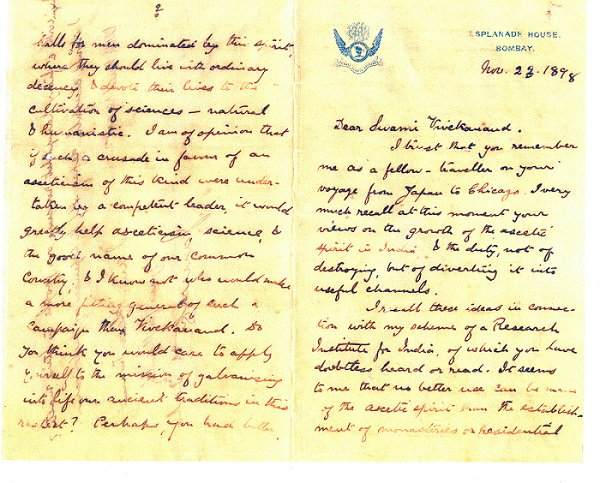 1898 :: Letter Written by Jamsetji Tata to Swami Vivekananda Describing Him as Inspiration and Asking For Support  In Setting Up IISC Bangalore