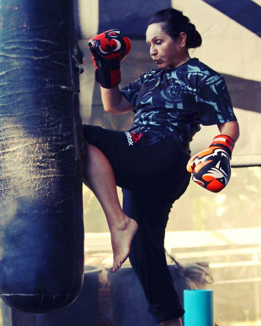 My mom Elena ❤️ in my training camp for the next fight #UFC247 @muaythai_kyrgyzstan_03  Моя мама Елена. 👊🏻👊🏻👊🏻 #FamilyMartialArts