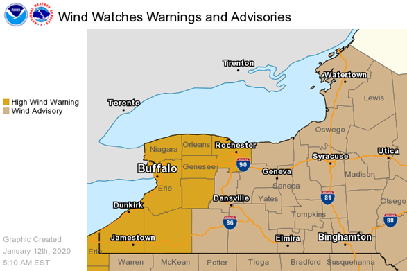 NWS issues Wind Advisory for Finger Lakes; gusts to 50 mph possible through afternoon