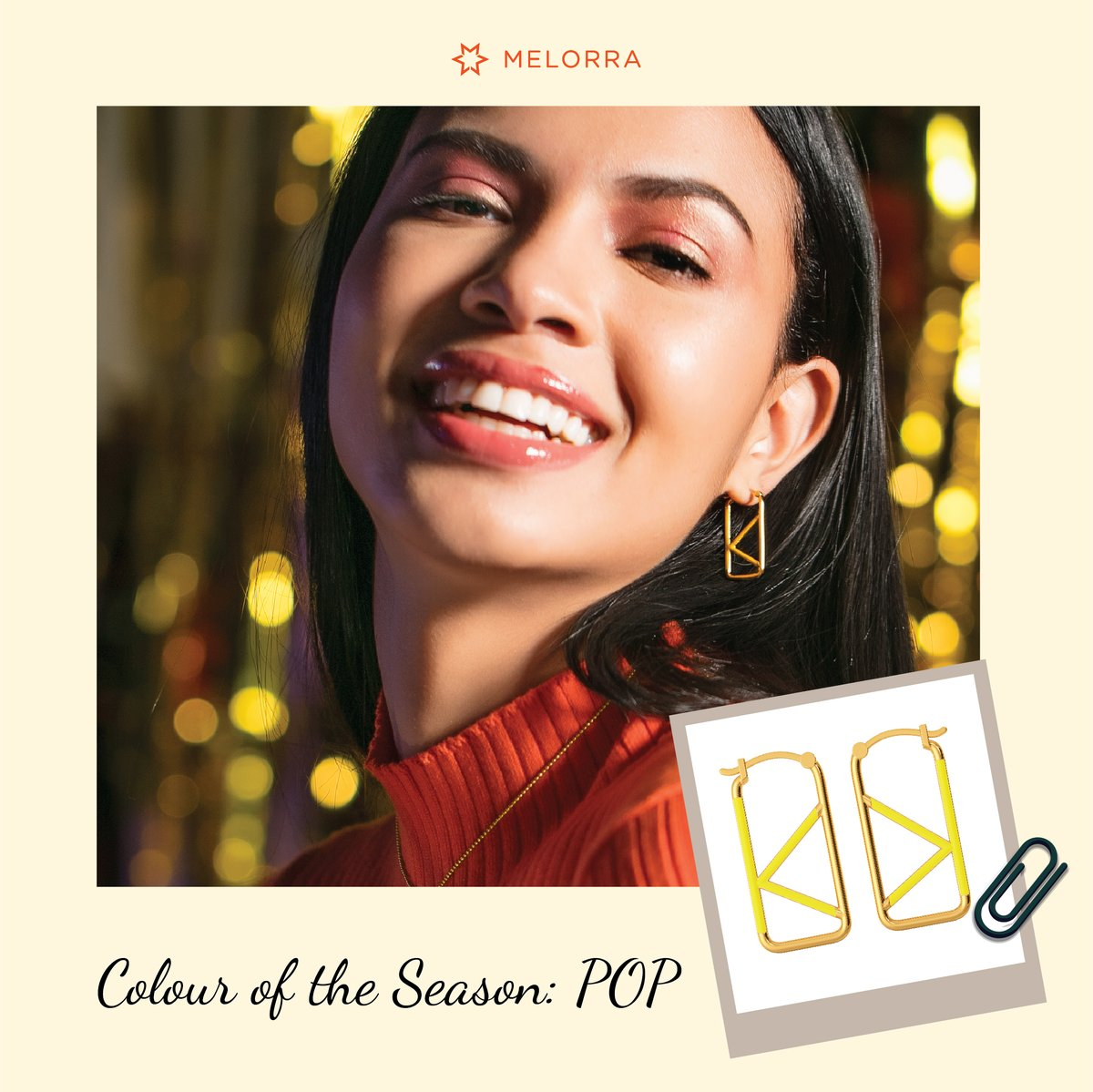 Say 'No' to boring designs! 😉  Brighten up your everyday looks with pop coloured enamel designs in gold. 😃  Shop the colour of the season here >   #Melorra #EverydayFineJewellery #TrendInspired #AffordableGold
